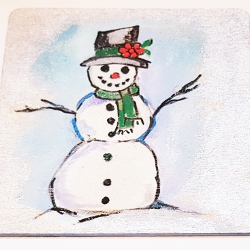 hand-painte-coaster-on-wood-special-gift-for-Christmas-snowman-setof4-Swindon-bespoke