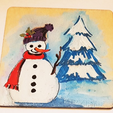 hand-painte-coaster-on-wood-special-gift-for-Christmas-snowman-special-gift-persona;lised-for-you-Bath
