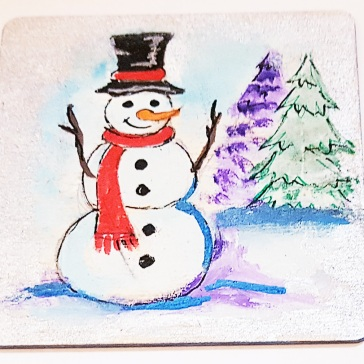 hand-painte-coaster-on-wood-special-gift-for-Christmas-snowman-special-gift-persona;lised
