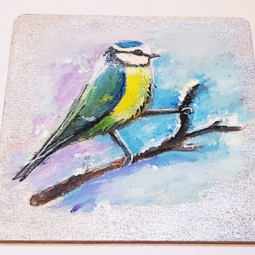 hand-painted-coaster-on-wood-special-gift-for-Christmas-Tit-birds-personalised-Swindon-bespoke