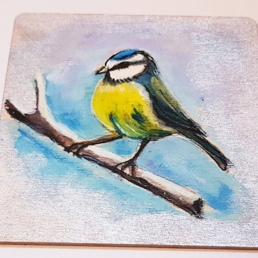 hand-painte-coaster-on-wood-special-gift-for-Christmas-Tit-birds-set-for-youpersonalised-Swindon-bespoke