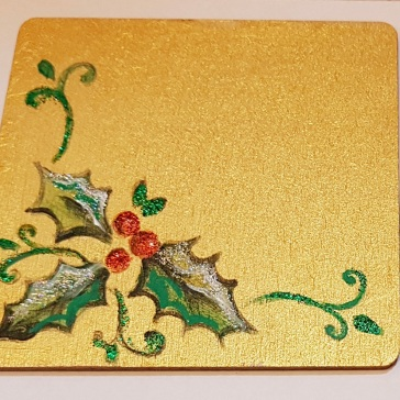 hand-painted-coaster-christmas-baublel-golds-gift-Swindon