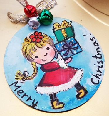 hand painted hangingchrismastree-decorations-hand-painted-on-wood-girl-merry-christmas