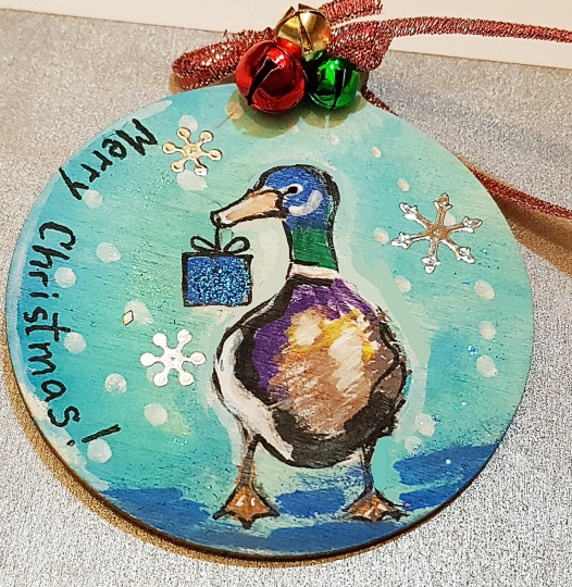 hangingchrismastree-decorations-hand-painted-on-wood-duck-giftchristmasgiftpersonalised