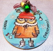 hangingchrismastree-decorations-hand-painted-on-wood-grumpy--owl-christmasgiftpersonalised