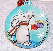 hangingchrismastree-decorations-hand-painted-on-wood-mice-present-winter-christmasgiftpersonalised