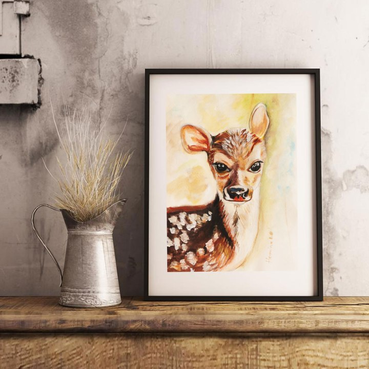 Deer watercolor paintings