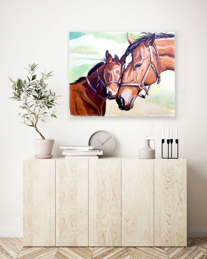 Mother and her foal- painting